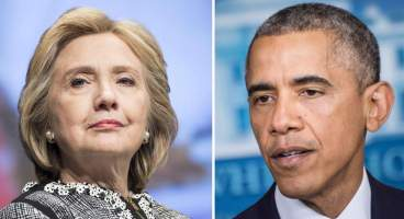 This combination of file photos shows Former US Secretary of State Hillary Clinton(L) and US President Barack Obama. Hillary Clinton may have distanced herself from President Obama's foreign policy, but he doesn't seem to have taken it personally: the two are due to attend the same soiree on Martha's Vineyard on August 13, 2014. The White House told AFP both the US leader and his wife Michelle were