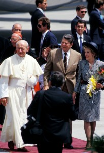 Mar 10, 1987; Miami, FL, USA; (L-R) Pope JOHN PAUL II, President RONALD REAGAN and First Lady NANCY REAGAN during the Pope's visit to Miami, Florida..(Credit Image: © Arthur Grace/ZUMAPRESS.com) (Newscom TagID: zumaamericasseven773643.jpg) [Photo via Newscom]